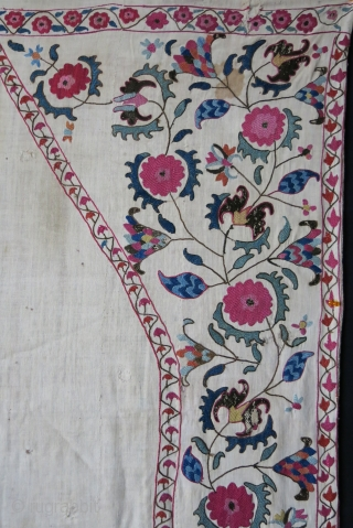 Tajikistan antique suzane, as seen on images, it has old patch form the days used for praying.. It is rare to see used ones..great colors, embroidered on hand loomed cotton and natural  ...