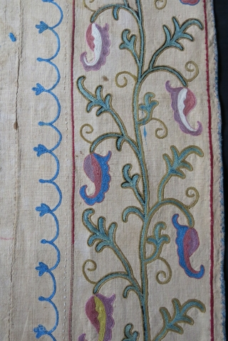 """Tajikistan Lakai nim suzane with tarditional extreme fine embroidery on hand loomed """"Karbos"""" cotton. Printed cotton backing. Few drop stains. Circa second half of 19th cent. Size: 55"""" X 38"""" -- 140  ..."""