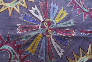 """Tajikistan - Lakai ethnic mirror cover - very fine silk embroidry with chain stitch. mostly natural colors. Printed cotton backing. size : 20"""" X 20"""" - 50 cm by 50 cm Circa  ..."""