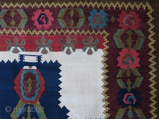 """Azerbaijan Karabag Kilim- wool and cotton mixed. Left side is longer than right side. size 72"""" X 47"""" -- 183 cm X 120 cm"""