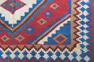 """Qashkai kilim.. with few small old repairs - seen on one cloes up image, great colors and drawing.. Size: 88"""" x 58"""" - 225 cm x 148 cm"""