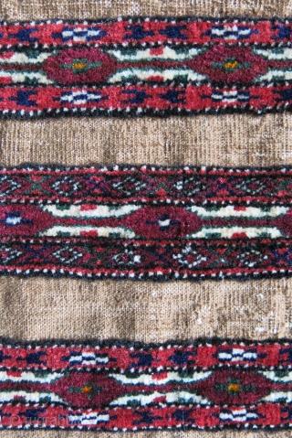 "Turkmen Goklan torba camel hair kilim parts with cotton warps. Good pile not used a lot. Circa 1920-1930 Size : 39"" X 12"" -- 99 cm X 30 cm"