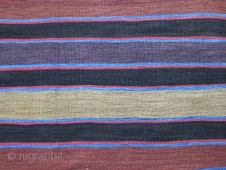 """Shahsavan main field kilim - finely wool woven on cotton with saturated natural colors. Circa 1900 or earlier. size : 112"""" X 60"""" --  285 cm X 152 cm"""