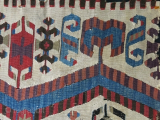 "Western Anatolia Aydinli Turkmen kilim fragment, Saturated colors, claned and frozen against moths. Size : 55"" X 29"" - 140 cm X 74 cm"
