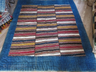 """Shahsavan tribal blanket with mazenderan kilim top and indigo dyed cotton under cover. Great condition, just washed and cleaned professionally. Size: 84"""" X 66"""" - 215 cm X 168 cm"""