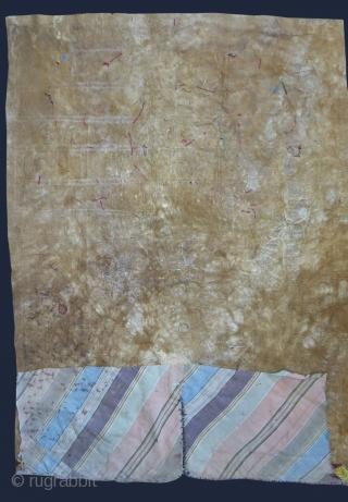"Kazakh hunter's pants fragments - Extreme fine silk emrboidery on leather. Circa 19th cent. Size: 30"" X 22"" - 77 cm X 56 cm"