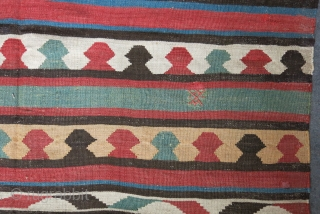 "Transcaucasian Shahsavan kilim circa 19th cent. size: 73"" X 60"" -- 185 cm X 152 cm"