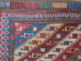 """Caucasian / Shahsavan bag face with natural colors. Minor touches for brown in field and a few spots, Circa 19th cent. Size: 19"""" X 18"""" --  48 cm X 46 cm"""