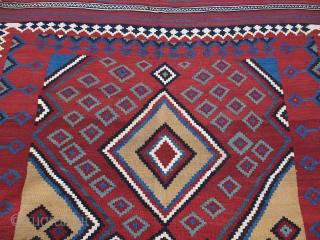 "Qashkai tribal kilim, couple minor old repairs. saturated colors, great condition. Circa 19th cent. Size"" 117"" X 65"" -- 297 cm X 165 cm"