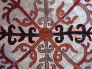 """Kirgiz Mirror cover, embroidery on leather, circa 1900 size : 16"""" X 15"""" - 41 cm X 38 cm"""