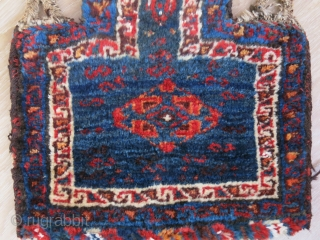 "Luri- baktiari tribal salt bag with goat hair warps and side wrapping. few tiny cotton spots, great colors and thick pile.. Circa 1900 size: 19"" X 17.5"" --  48 cm X  ..."