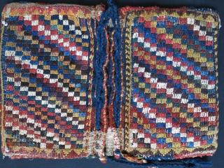 "Qashkai / Luri mini sumak double bag. size :21"" X 14"" - 53 cm X 36 cm"