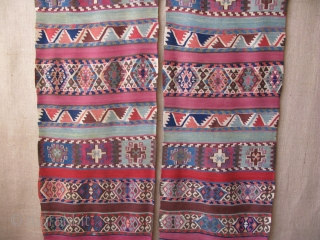"South East Anatolia Marash/ Elbistan Kurdish kilim, small area old fine reapirs. 19th cent. Size; 345 cm X 130 cm -- 136"" X 52"""