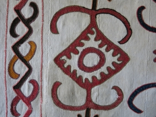 Kirgiz Yurt enrty hanging embroidered kilim. Wool embroidery on warpface hand loomed 6 cotton panels, an ethnoghraphic item. small area very good repair on top left shown on the very last image.  ...
