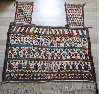 "Qashkai saddle cover,amazing saturated natural wool - colors and raised pile weave on warpface cotton background. A slit area very ptrofessional reapir. Circa second half of 19th cent. size: 61"" X 59""  ..."