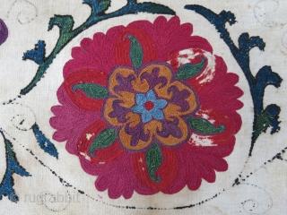 "Uzbekistan antique suzani border fragment. Size: 48"" X 10 "" -- 122 cm X 26 cm"
