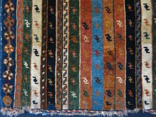 "Qashkai Masnat - ceremonial mat with good colors. Circa 1900 - size: 21"" X 20 "" -- 53 cm X 51 cm"