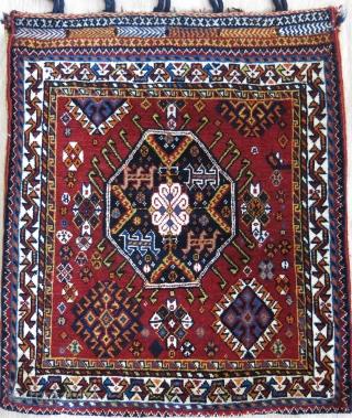 "Qashkai Shakarlue bag with some camel hair pile, original sofreh design back. circa 1900 - 1920s Fine asymmetrical knot open to left. Size - 24"" X 21 "" -- 61 cm X  ..."
