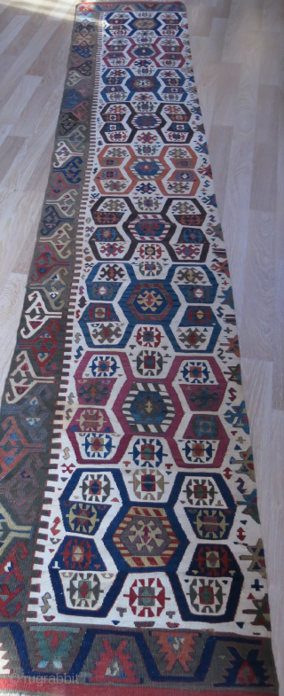 "Central Anatolian half panel long Kilim. Wool and cotton mixture weave background. saturated natural colors.. Good condition circa mid 19th or earlier size, 147"" X 27"" - 375 cm X 69 cm  ..."