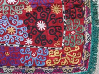 "Lakai Mirror cover. silk embroidery on wool. size : 21"" X 20"" - 53 xn X 51 cm"