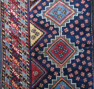 "Luri Qashkai tent entry single panel. Wears as seen on images. Circa Mid-19th cent. Size: 92"" X 36"" - 234 cm X 91 cm"