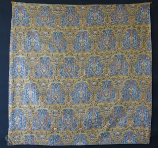 """Persia Yazd silk bokhcha in good condition. , natural colors, probably older than itself block print backing.  Circa 1900 -earlier Size: 33"""" X 32.5"""" --82.5 cm X 84 cm"""