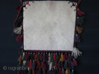 """Turkmen Yomud broadcloth patchwork and embroidery thin-felted Bokhcha. Size : 19"""" X 18"""" - 48 cm X 46 cm - 8"""" -- 20 cm  long tassels."""