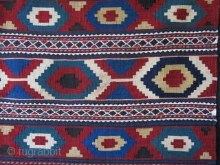 "shahsavan Mogan area bedding bag side panel with saturated colors. minor upper corner wear. Circa 1900 -size : 43"" X 19"" - 109 cm X 49 cm"