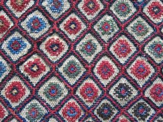 "Qashkai Namektan - old reapirs on back side, natural colors, circa 19th. Size: 23"" X 20"" -- 59 cm X 51 cm"