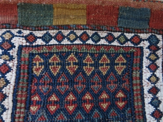 "Bijar area Sumak woven bag.. some old repairs on backing and up in top of closer part. Othewise,  in great condition. size: 10"" X 9"" -- 26 cm X 23 cm  ..."