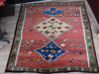 """Qashkai Gabbeh square rug.. usual real silky wool with great pile and saturated colors. Size: 87"""" X 82"""" -- 220 cm X 210 cm"""