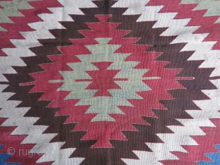 "Anatolia Taurus mountains - tribal kilim, wool on goat hair warps. few old small reapirs. circa 19th cent. size: 111"" X 45"" // 282 cm X 114 cm"