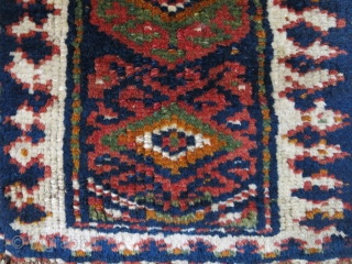 """Iraq Kurdish tribal bag face with great colors. Circa second half of 19th cent. Size : 15"""" X 16"""" - 41 cm X 38 cm"""