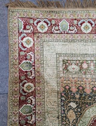 Anatolian Bandırma silk prayer rug size 208x146cm