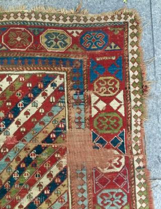 About 1850.century Caucasian rug Size 210x125cm
