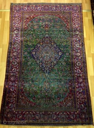 Rare green Kashan silk carpet size 210x130cm