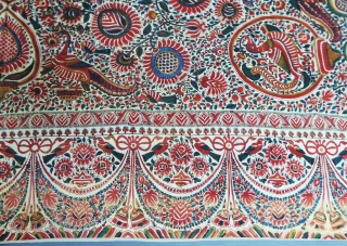 Palampore printed and painted on Cotton  1825/1850 India for export to Europe. Rich floral and figures repertoire with large central rosette. Flowers, pomegranates, peacocks, birds of paradise, scales compose a rich decoration  ...