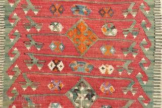 Anatolian Prayer Kilim. Size: 137 x 164 cm. Some holes. Need repairs.