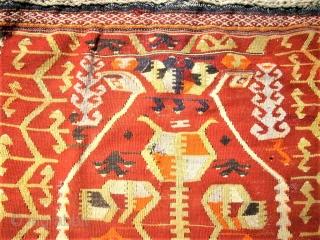 old anatolian prayer kilim. Size: 90 x 123 cm. Some holes.