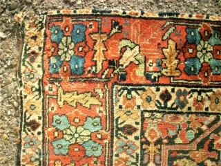 Antique Caucasian rug? Size 99 x 180 cm. Good pile. One edge damaged. Used. Wonderful colors.