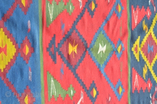 Antique colorful, palace size macedonian sarkoy group kilim. early 20th c. size: 420 x 400 cm