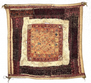Antique little mystery flat woven square. Greek islands? Old object constructed of many small pieces fitted together. A mix of techniques and materials. Appears to be silk, cotton, maybe linen. Colors look  ...