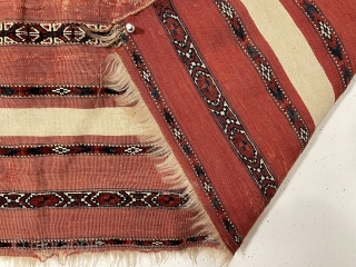 Antique turkman mixed technique ak chuval with good natural colors and very fine weave. Overall fair condition for the age with some wear, small patched spot of damage, couple small stains. Sides  ...
