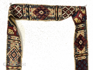 Rare antique south Persian pile animal band or trapping, probably qashkai. Overall pretty good condition with just a few tiny spots of damage. Very good pile and original complete edges. All beautiful  ...