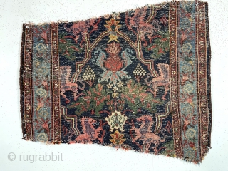 One more antique bidjar lion rug fragment. What you see is what you get. Thick thick bidjar weave. As found, not washed, wear and creases as shown. Pretty saturated colors. Last one.  ...