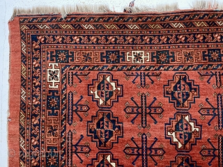 Antique very large ersari chuval. Possibly the largest chuval I've had. Overall mostly good medium pile with a few old tiny moth nibbles and a couple small crude repairs. Warps quite bristly,  ...