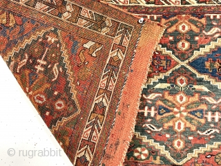 Antique large afshar bagface with an uncommon and attractive design. Some interesting features including a lovely vine border more often found on rugs than bags and extremely complex and colorful original closure  ...