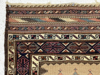 Antique unusual and attractive small Baluch weaving with mixed pile and flat weave techniques. Complex and colorful pile borders and extra fancy end kelims compliment the spacious flat woven field. Pile areas  ...
