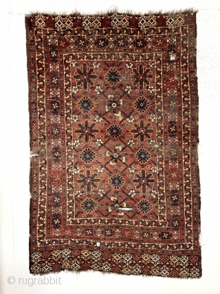 Early turkman small rug or ensi with an interesting design and good natural colors. An older example with a large scale archaic Mina khani field, good borders and eye catching skirt panels.  ...