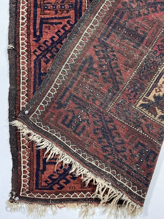 "Antique camel ground Baluch prayer rug in rather good condition. Text book design other than unusually tiny hand panels and the ""tree of life"" trunk made up from tiny turkman motifs. Overall  ..."